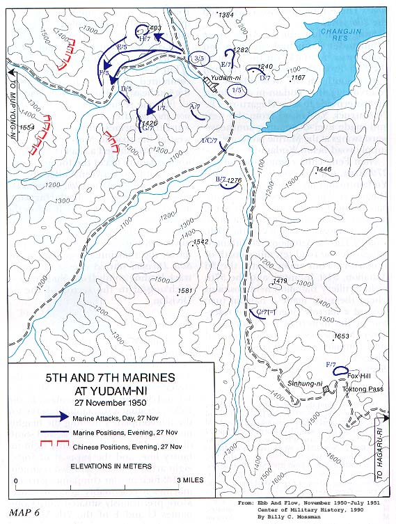Korean War Project Map - MAP 6 - 5th and 7th Marines at Yudam-ni - 27 November 1950