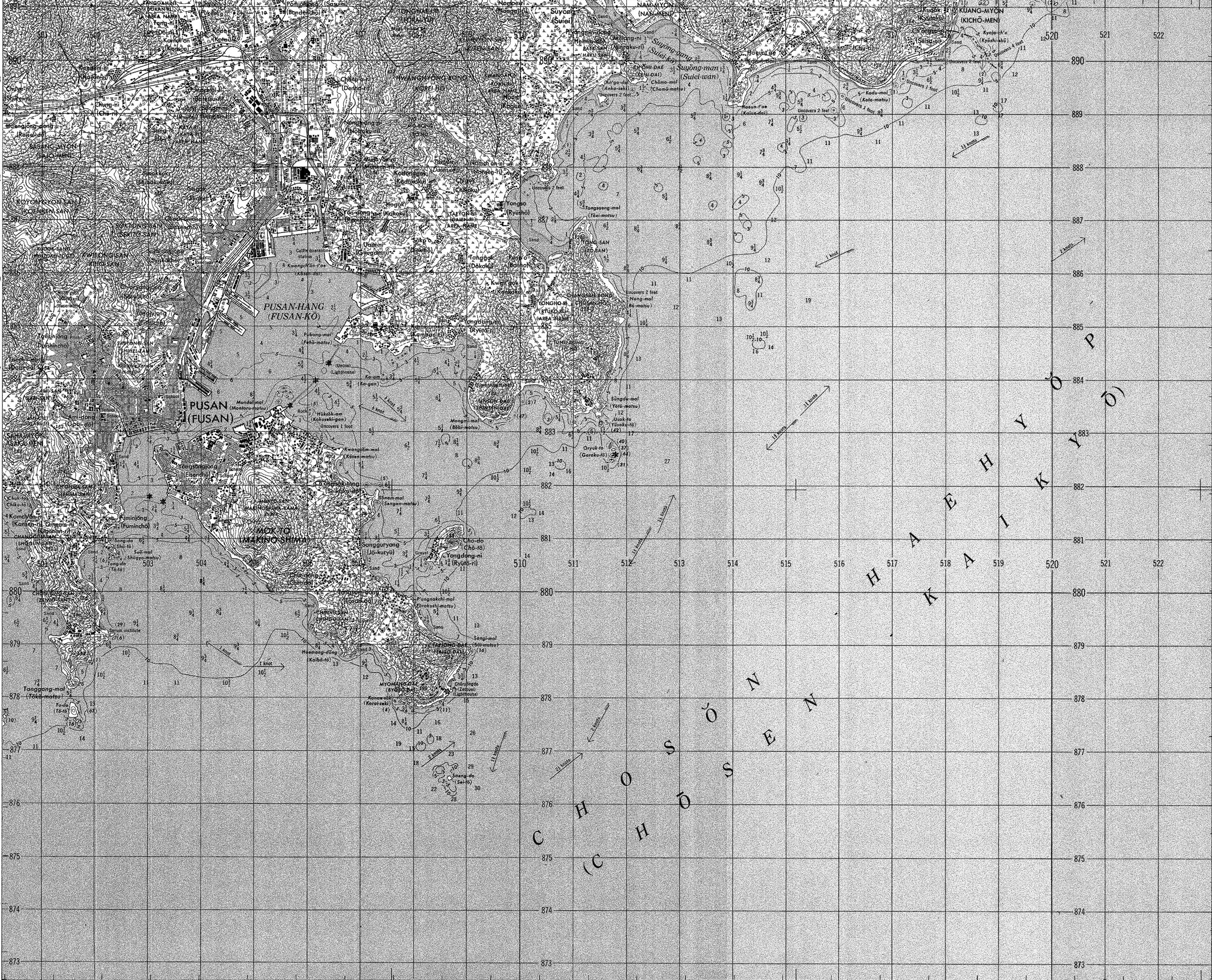 Korean War Project Map - PUSAN - L751 - 7019 III