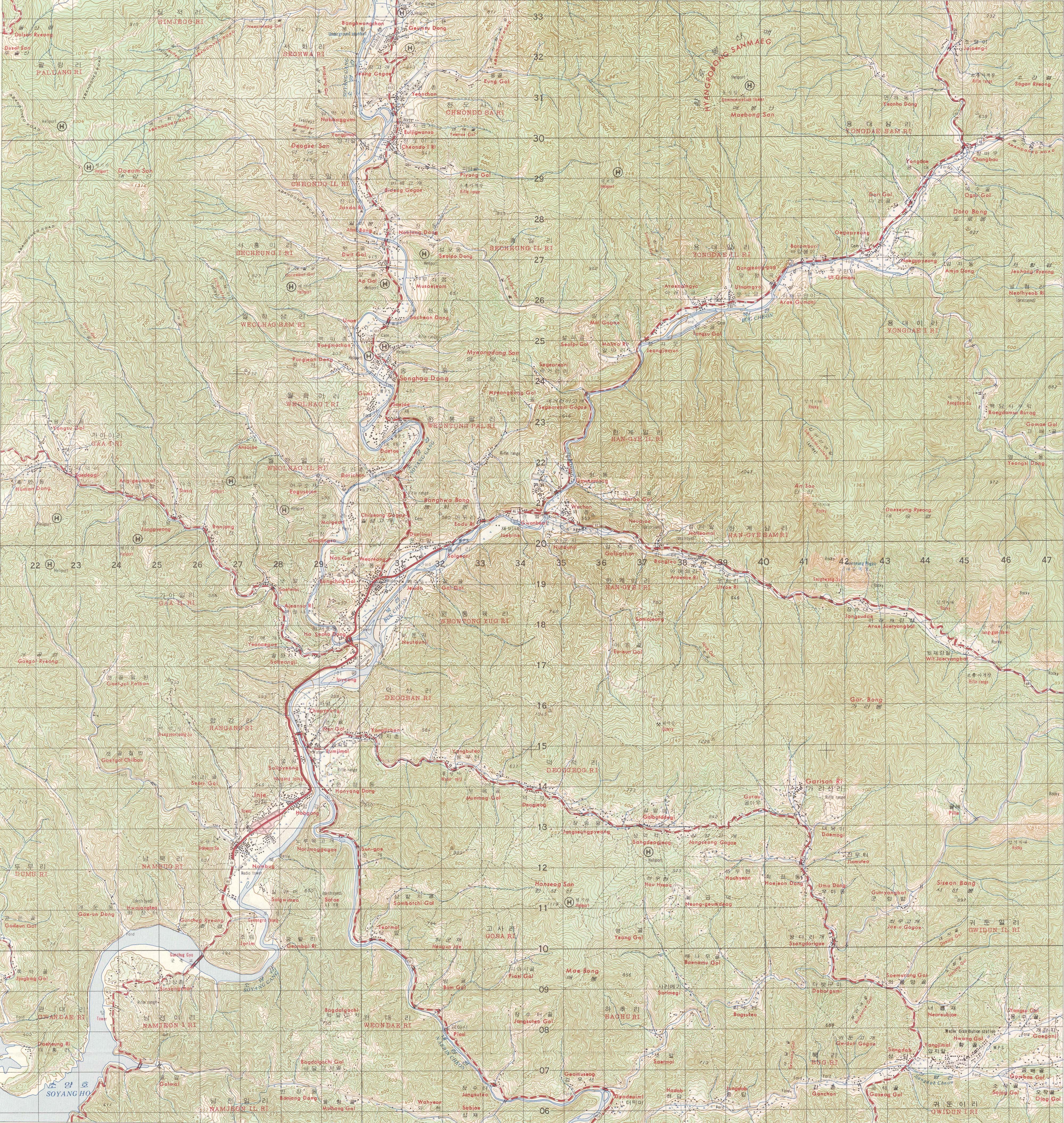Korean War Map Dmz Inje Ams Map Sheet L752 3322 Ii