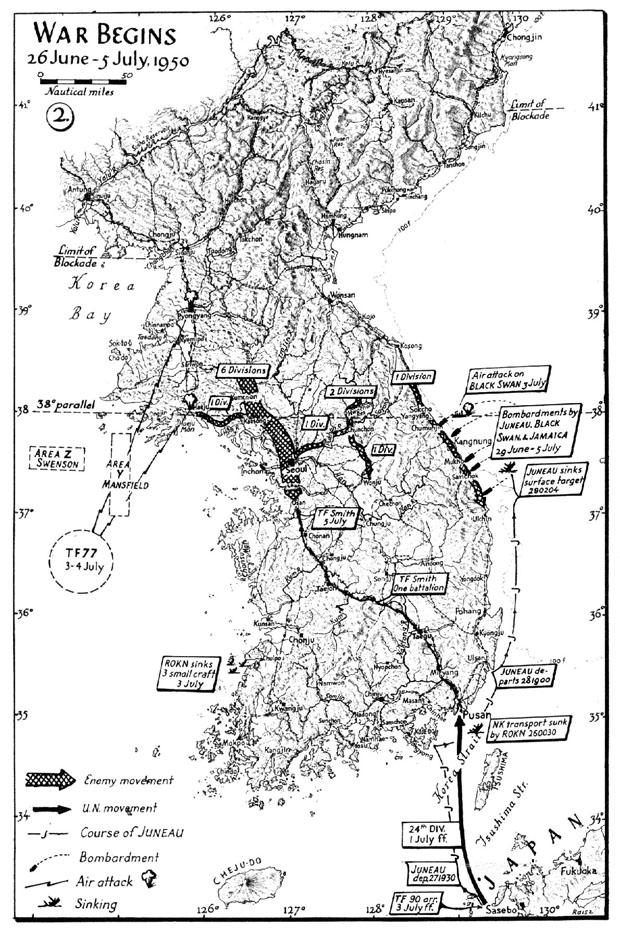 Map 2 war begins 26 june 5 july 1950 korean war project map map 2 war begins 26 june 5 july sciox Image collections