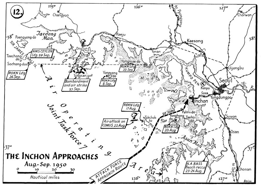 MAP 12  The Inchon approaches  August  September 1950