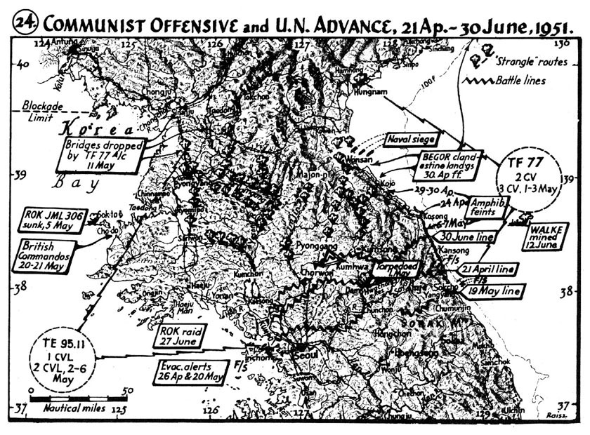 MAP Communist Offensive And UN Advance April June - Us maps navy