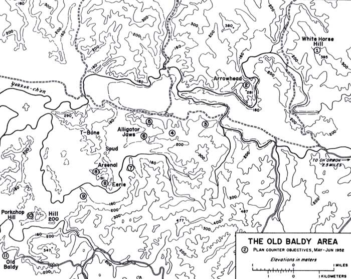 Korean War Project Map - 4 - The Old Baldy Area -